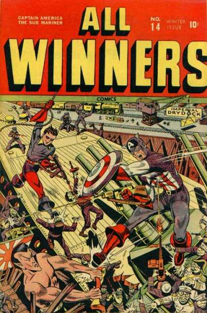 All Winners Comics 14 - Captain America - Namor The Submariner - Imperial Dry Dock - Shooting Submachine Gun - Holding Shield