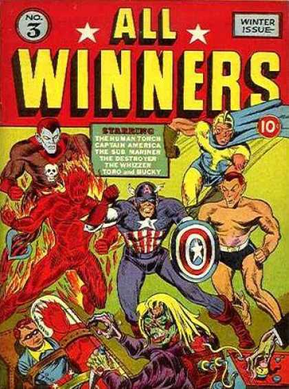 All Winners Comics 3 - Captian America - Human Torch - Sub Mariner - The Destroyer - Shield