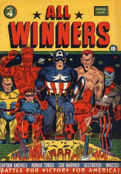 All Winners Comics 4 - Heroes - Captain America - Human Torch - Statue Of Liberty - War
