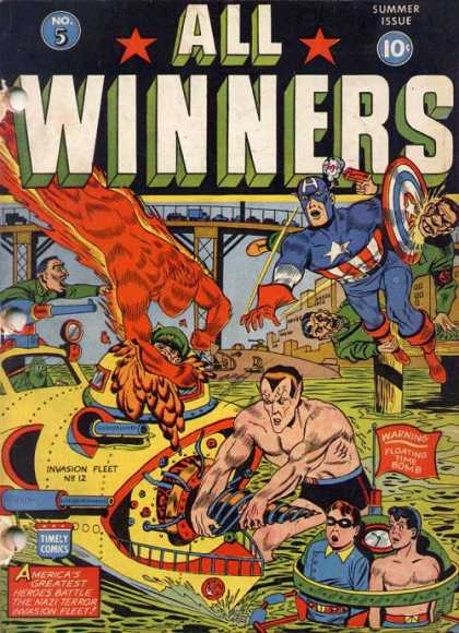 All Winners Comics 5 - Torch - Captain America - Shield - Sub-mariner - Water