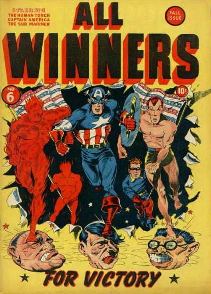 All Winners Comics 6 - Captain America - Sub Mariner - The Human Torch - Fall Issue - World War Ii Propaganda