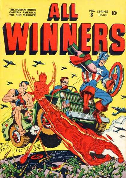 All Winners Comics 8 - The Human Torch - Captain America - The Sub Mariner - Army Jeep - Aircraft