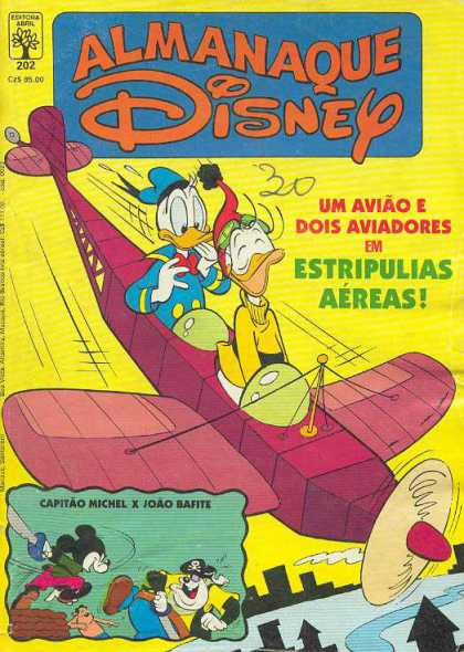 Almanaque Disney 202 - Wooden Two Man Plane - Pirate Dog - Flying - City Buildings - Mickey Mouse