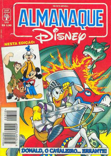 Almanaque Disney 310 - Donald Duck - Dragon - Horse - Sword - Fire