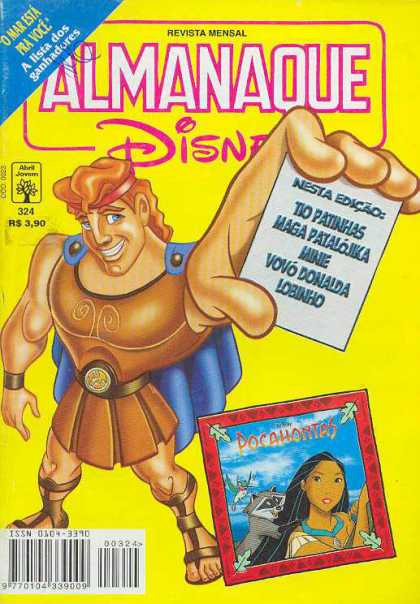 Almanaque Disney 324 - French Comic - Almanaque Disney - Herculese - Pocahontes - Yellow Cover