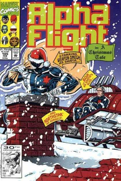Alpha Flight 105 - Marvel Comics - Starrig Wepon Omega - Box As Santws Selo - A Ghristmas Sale - Northstar As Himself