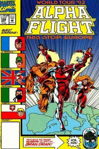 Alpha Flight 108 - Alpha Flight - World Tour 92 - Europe - Brain Drain - Marvel Comics