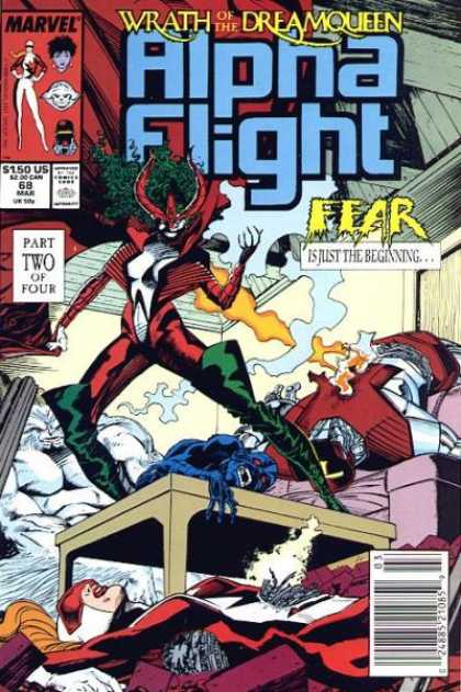 Alpha Flight 68 - 2 Robots Destroyed - Woman Standing On Table - White Figure In Background - Blue Figure Laying On Table - March Issue - Carl Potts, Jim Lee