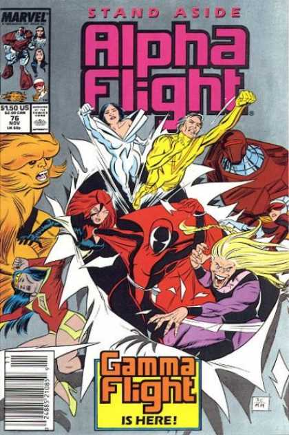 Alpha Flight 76 - Man - Woman - Monster - Fighting - Glass - Mike Manley
