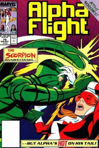 Alpha Flight 79 - Marvel - Battle - The Scorpion - Comics Code - But Alphas Hot On His Tale