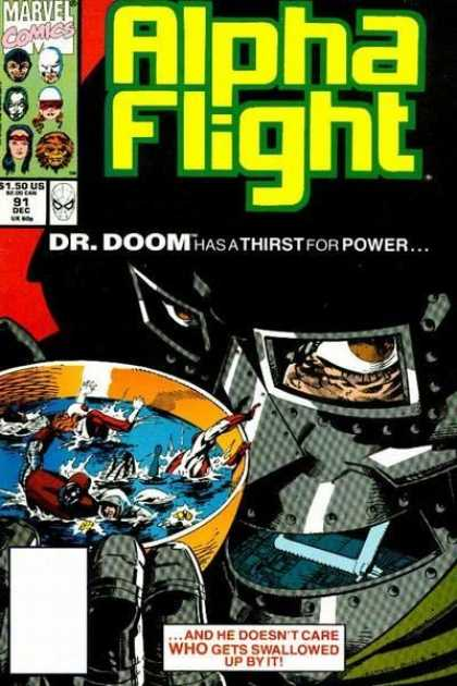 Alpha Flight 91 - Dr Doom - Thirs For Power - Who Gets Swallowed - December 91 - Marvel Comics