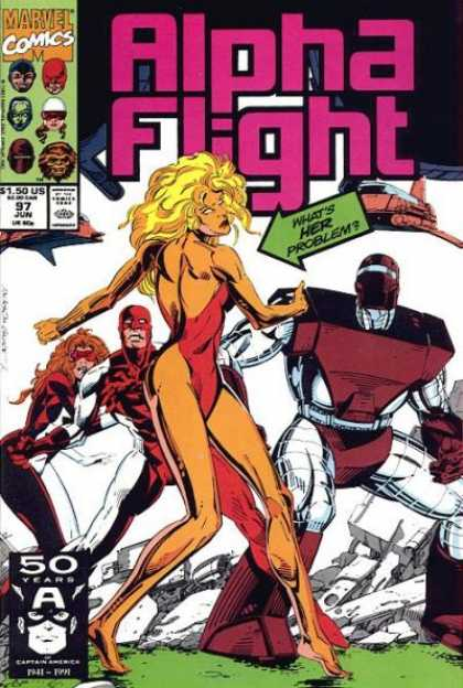 Alpha Flight 97 - Marvel Comics - Mutant - Whats Her Problem - Robot - Approved By The Comics Code