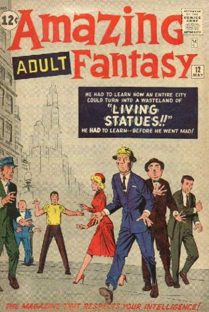 Amazing Fantasy 12 - Living Statues - Yellow Shirt - Blue Suit - Blonde Woman - James Jean