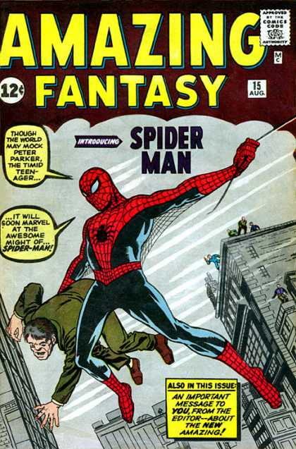 Amazing Fantasy 15 - Spiderman - First Appearrance - Peter Parker - Rescue - Web Swinging - Jack Kirby