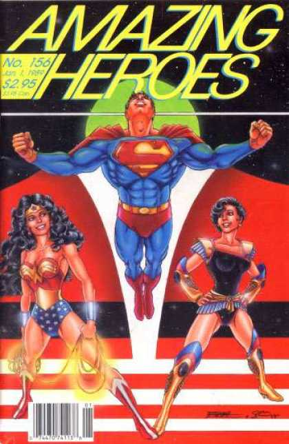 Amazing Heroes 156 - No 156 - Superman - Red Cape - Wonder Woman - Black Hair - George Perez