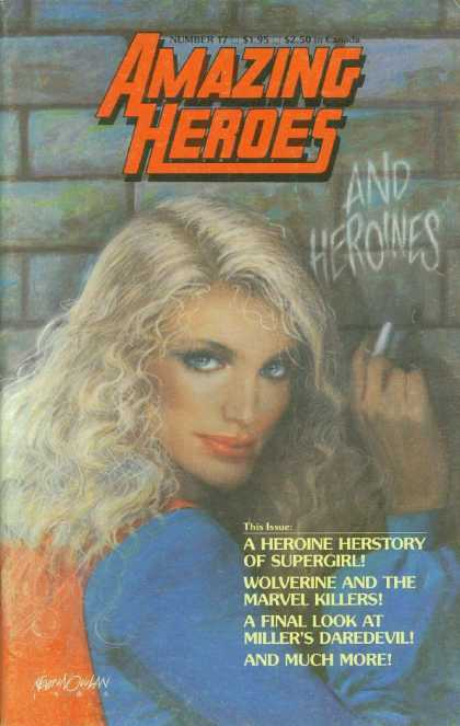 Amazing Heroes 17 - Blonde - And Heroines - Brick Wall - Chalk - Red Lipstick