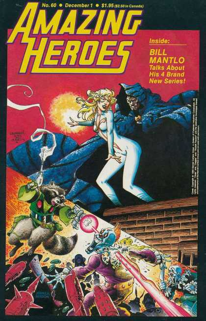 Amazing Heroes 60 - Bill Mantlo - Talks About 4 Brand New Series - Blond Hair - Gun - Rooftop - Rick Leonardi, Terry Austin