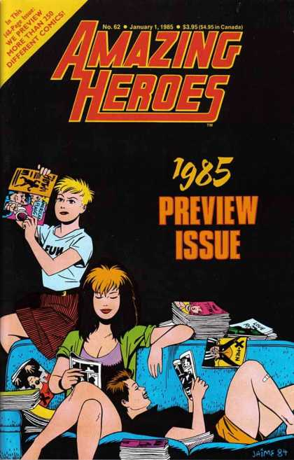 Amazing Heroes 62 - Jamie 84 - Girls Reading - Preview Issue - No 62 - Comic Heroes - Jaime Hernandez