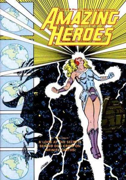 Amazing Heroes 66 - Heroes - Woman On Front - Earth In Back Ground On Left - Secrets - Behind Secrets - George Perez