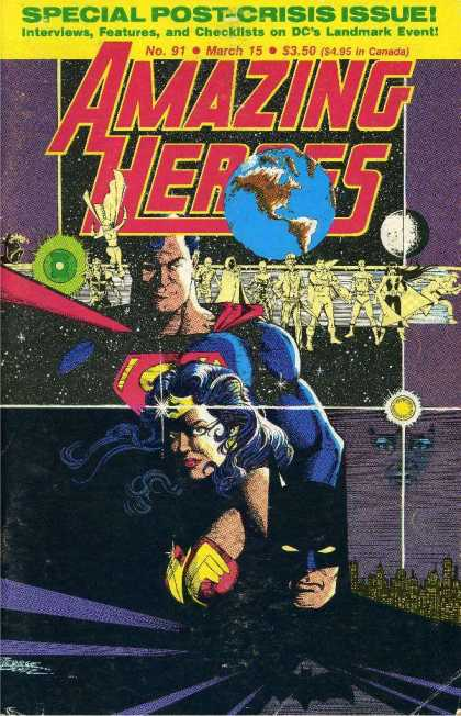 Amazing Heroes 91 - Special Post-crisis Issue - No 91 March 15 - Superman - Wonderwoman - Earth - George Perez