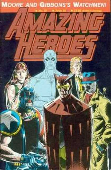 Amazing Heroes 97 - Moore And Gibbonss Watchmen - Masks - Costumes - Superheroes - Guns - Dave Gibbons
