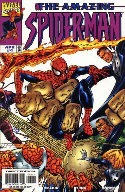 Amazing Spider-Man (1999) 4 - The Fantastic Four - Fire - Giant Hand - Ninja - Steel Chest Protector - John Byrne