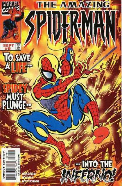 Amazing Spider-Man (1999) 9 - Marvel - Costume - Mutant - Flame - Direct Edition - John Byrne
