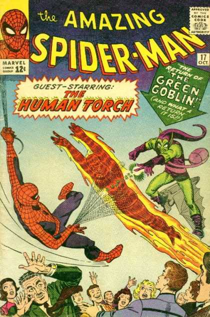 Amazing Spider-Man 17 - Green Goblin - Special Guest Hero The Human Torch - October Issue - Protecting People - Cheering People