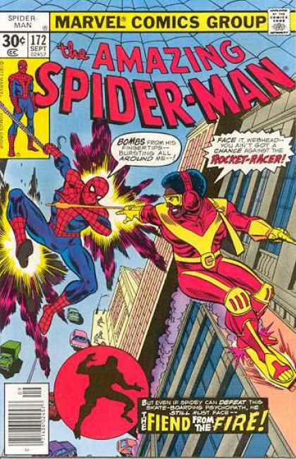 Amazing Spider-Man 172 - Rocket-racer - Marvel Comics Group - Bombs - Superhero - Fiend From The Fire - Ross Andru