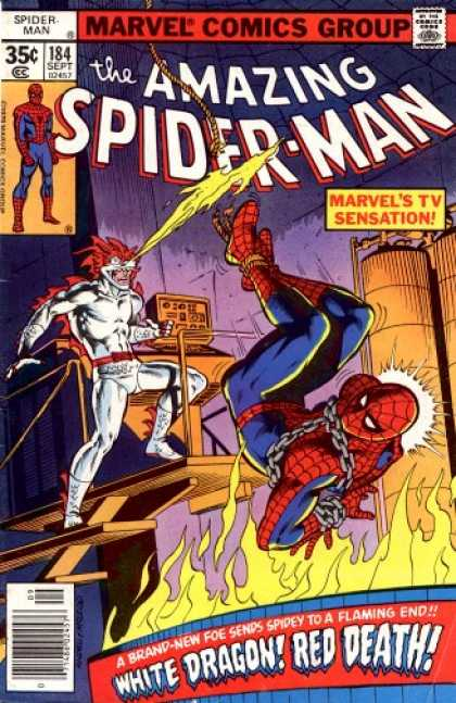 Amazing Spider-Man 184 - White Dragon - Flame - Spiderman - Marvel Comics Group - Comics Code - Bob McLeod, Ross Andru
