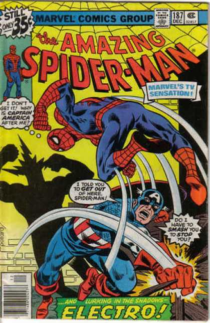 Amazing Spider-Man 187 - Electro - Captain America - Fight - Spiderman - Shadow