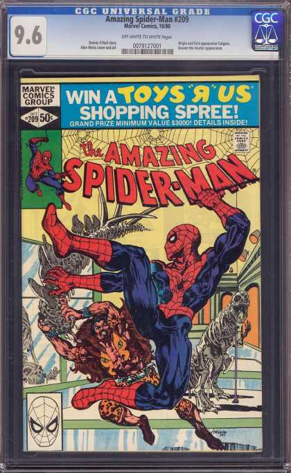 Amazing Spider-Man 209 - Museum - Fighting In A Museum - Man Holding Dinosaur Bones - Man Looking Like Cave Man - Issue Number 209