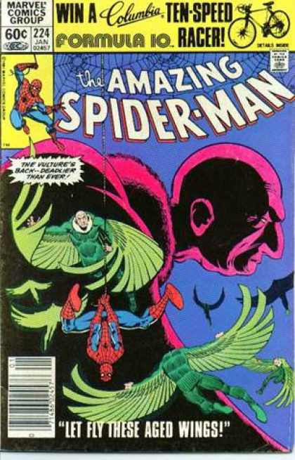 Amazing Spider-Man 224 - Vulture - Fly By Night - Swinging Bird Fight - Pink Flamingo - Wings Of Darkness - Bob Layton, John Romita