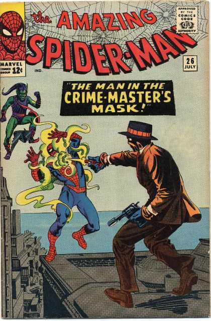 Amazing Spider-Man 26 - Green Goblin - The Man In The Crime-masters Mask - Spider-man - Fedora - Rooftop