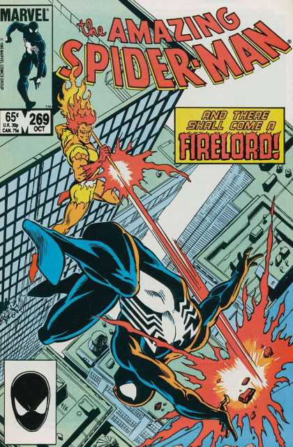 Amazing Spider-Man 269 - And There Shall Come A Firelord - Shooting Fire - Black Spiderman - October - Issue 269 - Josef Rubinstein