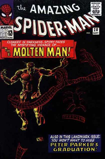 Amazing Spider-Man 28 - Molten Man - Graduation - Peter Parker - Graduation Day - Melted Rock And Pomp