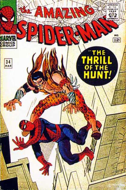 Amazing Spider-Man 34 - Kraven - Falling - Thrill Of The Hunt - Villian - Spiderman