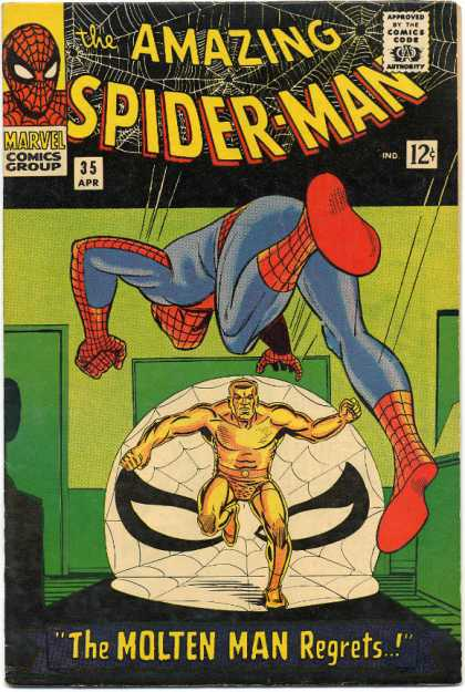 Amazing Spider-Man 35 - Gold - Spiderman - Molten Man - Web - Comics Code