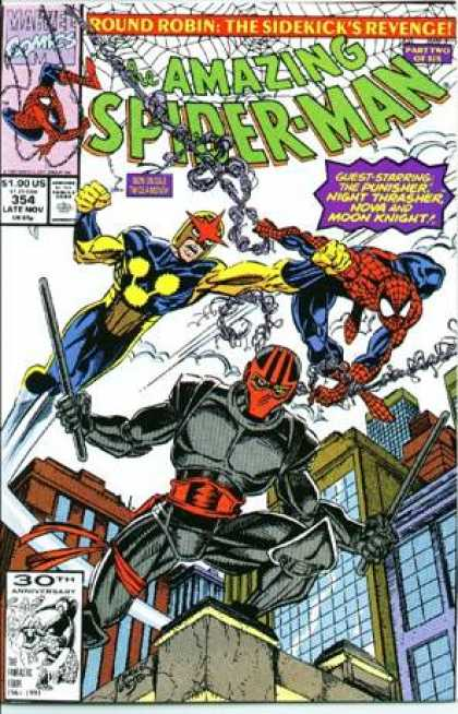 Amazing Spider-Man 354 - Nova - Moon Knight - Spiderman - Web - Night Thrasher - Erik Larsen, Mark Bagley