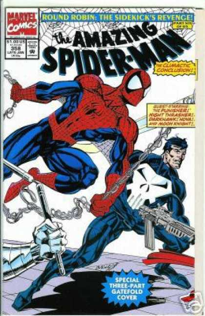 Amazing Spider-Man 358 - Punisher - Gun - Web - Ending Of Story - Metal Arm Holding Numchuks - Mark Bagley