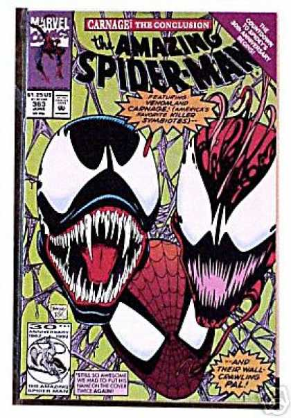 Amazing Spider-Man 363 - Venom - Fangs - Carnage - Marvel - Creature - Mark Bagley