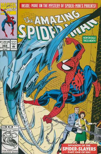 Amazing Spider-Man 368 - Marvel Comics - 125 Us - 368 Early Nov - Spider-slayers - 30 Anniversary - Mark Bagley
