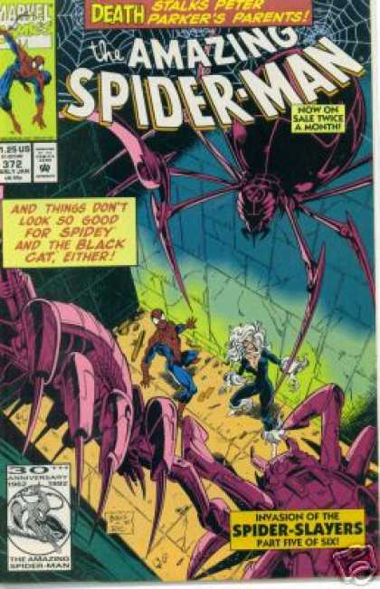 Amazing Spider-Man 372 - Black Cat - Spiderman - Spider Web - Spider - Invasion Of The Spider Slayers - Mark Bagley