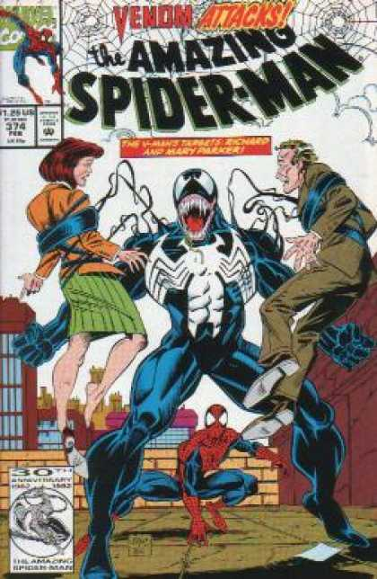 Amazing Spider-Man 374 - Spider Man - Venom Monster - Tentacles - Man And Woman - 30th Anniversary - Mark Bagley