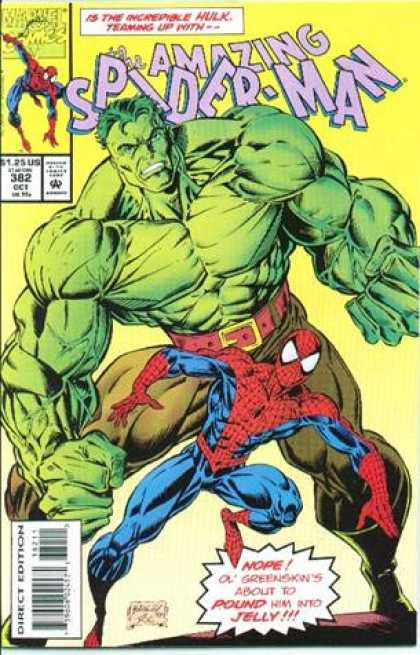 Amazing Spider-Man 382 - Incredible Hulk - Hulk - Ol Greenskin - About To Pound Him To Jelly - Belt With Gold Buckle - Mark Bagley