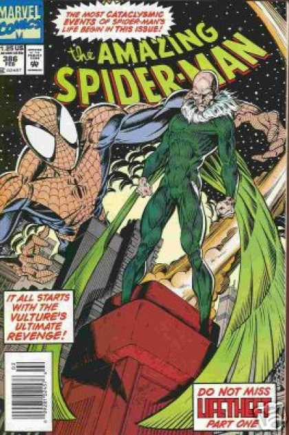 Amazing Spider-Man 386 - Vulture - Spiderman - Cataclysmic Events - Battle - Stars - Mark Bagley