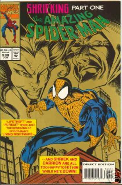 Amazing Spider-Man 390 - Shriek - Carrion - Lifetheft - Pursuit - Spiderman - Mark Bagley