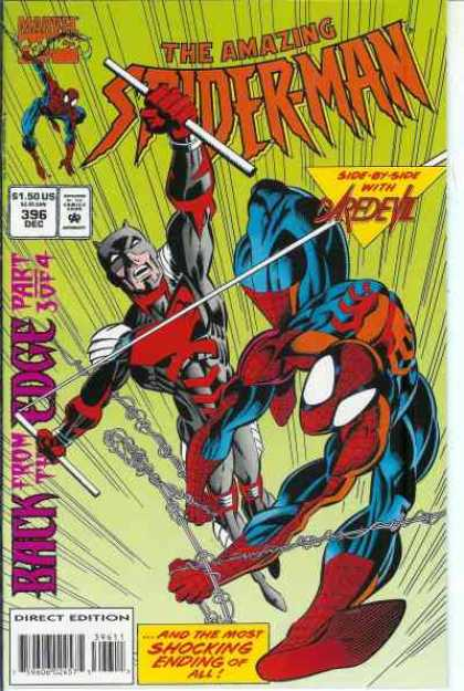 Amazing Spider-Man 396 - Daredevil - Spiderman - Web - Back From The Edge Part 3 - Issue 396 - Mark Bagley