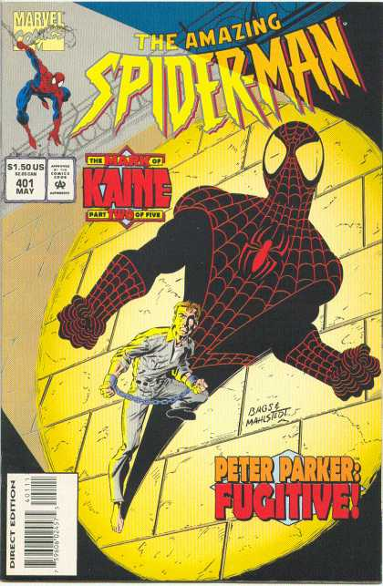 Amazing Spider-Man 401 - Fugitive - Shadow - Peter Parker - Kaine - Mark Bagley