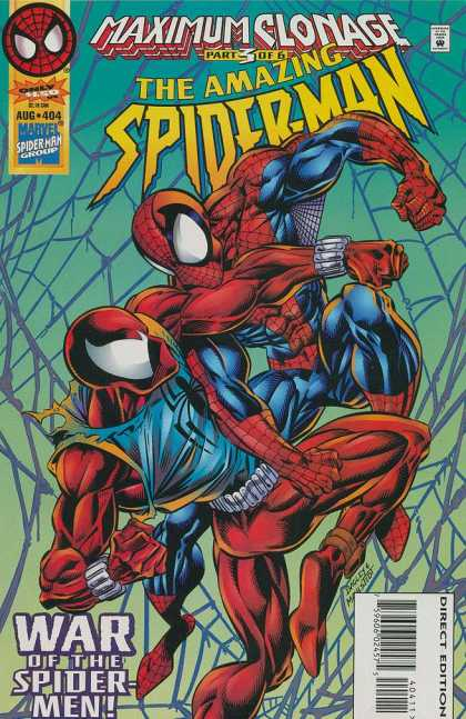 Amazing Spider-Man 404 - Maximum Clonage Part 3 Of 6 - Web - War Of The Spider Men - Fistfight - Aug 404 - Mark Bagley